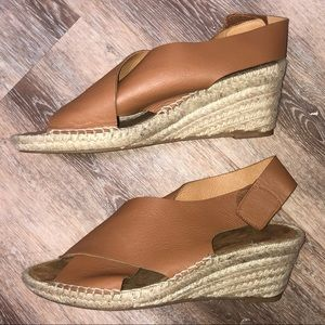 Maypol by Anthropologie tan wedge sandals US 9